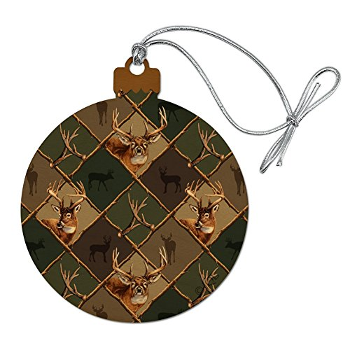 Graphics and More Deer Antler Hunting Hunter Camouflage Diamond Wood Christmas Tree Holiday Ornament -