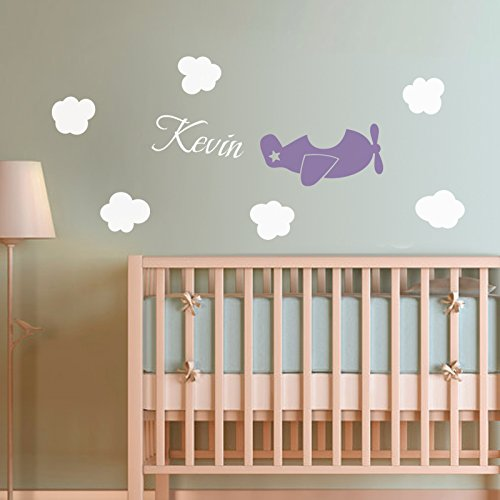 Amazon.com: Airplane Name Decal Plane Personalized Wall Decal Nursery Playroom  Wall Sticker Plane Wall Decor Children Room Art Decoration: Home U0026 Kitchen