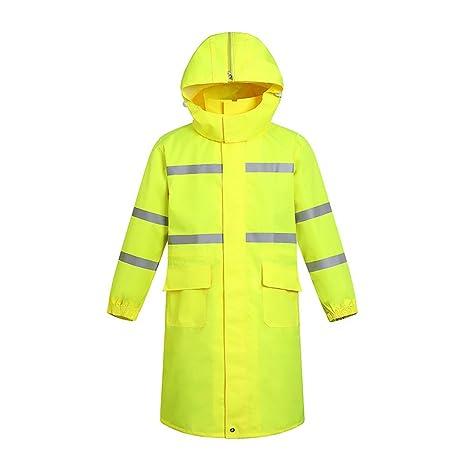Men s 300D Oxford Yellow High Visibility Traffic Coat Safety Rain Coat  Reflective Jacket Waterproof - - Amazon.com d3cb69320da