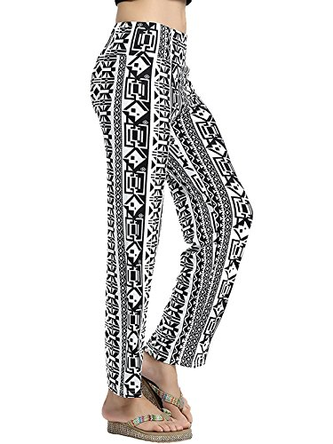Absolutely Perfect Womens Tribal Geometric Printed Bohemian Baggy Casual Loose Palazzo Pajama Yoga Pants C Retro X-Large (Crinkle Flare Skirt)