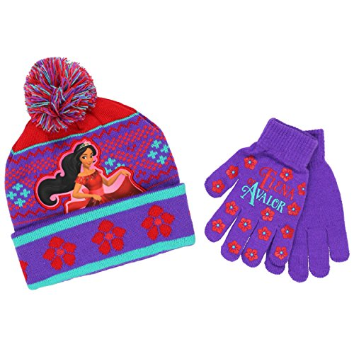Princess Elena of Avalor Youth Beanie Hat and Gloves Set (One Size, Elena Purple/Red)