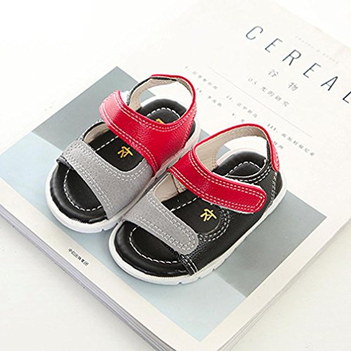 Fheaven Baby Boys Beach Sandals Sneaker Infant Patchwork Casual Single First Walker Shoes Red