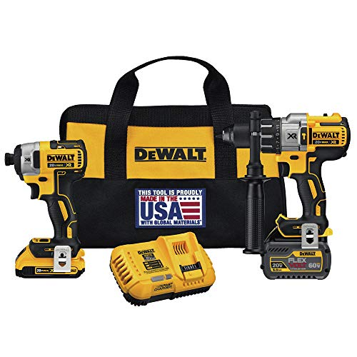 Dewalt DCK299D1T1R 20V MAX FlexVolt Cordless Lithium-Ion Hammer Drill and Impact Driver Combo Kit with 2 Batteries - Hammer Drill Volt