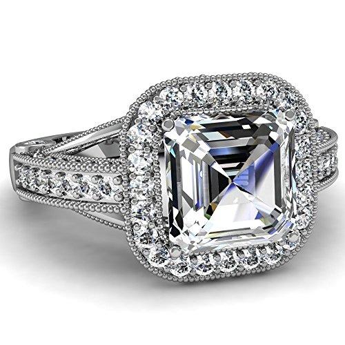 Jalash Asscher Cut Halo Cubic Zirconia Diamond Engagement Ring in 14K White Gold Plating (8)