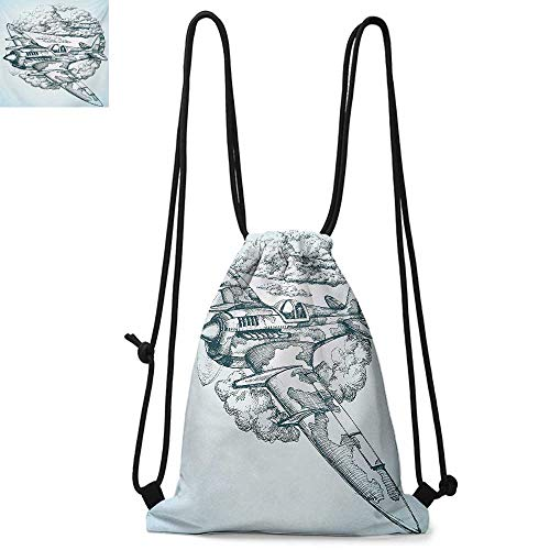 Backpack Squad Icon - AirplanePortable drawstring backpackPlane in the Sky Round Icon Vintage Military Cloud Aerospace Drawing EffectSuitable for carrying around W13.8 x L17.7 Inch Baby Blue Black
