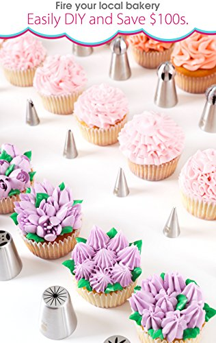 (69pc) Quick'nEasy Cake Decorating Supplies Kit - 3in1 Russian Piping Tips Set, Icing Bags, User Guide, Cupcake Wrappers In Cute Gft Box. Perfect for Making Flower Frosting | Baking Memories Together by Cakes of Eden (Image #4)