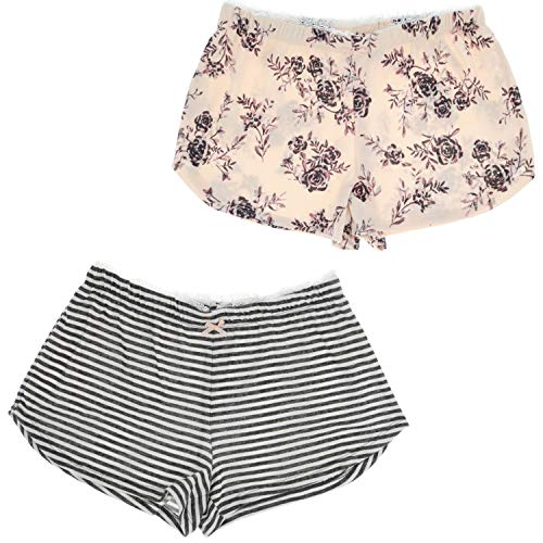 Marilyn Monroe Intimates Soft and Dreamy Pajama Shorts (2Pr) (Small, Pink Floral & Grey Stripes)