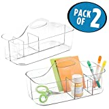mDesign Craft and Sewing Organizer Tote for Scissors, Paint, Markers, Paint - Pack of 2, Medium, Clear