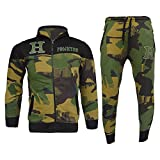 Star Trendz Kids Tracksuits Boys Girls HNL Projection Print Hoodie & Bottom Joggers Suit New Age 7-13 (13, Green H camouflage)