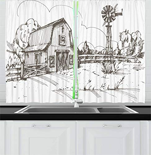 Ambesonne Windmill Kitchen Curtains, Rustic Barn Farmhouse Hand Drawn Illustration Countryside Rural Meadow, Window Drapes 2 Panel Set for Kitchen Cafe Decor, 55