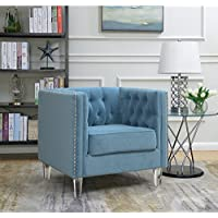 AC Pacific Ariel Collection Contemporary Polyester Velvet Fabric Upholstered Button Tufted Silver Nailhead Accented Living Room Tuxedo Arm Chair with Clear Acrylic Legs, Teal