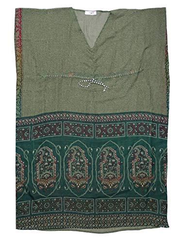 Di Vintage Etnico Stile Peegli Stampato Scuro Miscela Kaftan Vestito Tessuto Kimono Carciofo Seta Floreale Indiano Lungo Verde Indossare E PiTkZOXwul