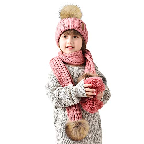 Kids Hat and Scarf Set Winter Knit Beanie Faux Fur Pom Pom Hat Unisex Baby Warm Chunky Thick Stretchy (Ages 2-8)