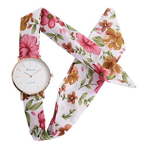 Sodoop Fashion Women Printing Floral Cloth Quartz Glass Dial Bracelet Sweet Girl Wristwatch Watch Gift, Swimwear ()