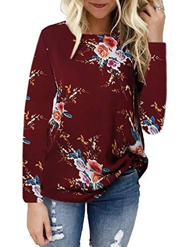 kigod Women's Lightweight Crew Neck Chiffon Print T-Shirt Top Floral Long Sleeve Tops Blouse (Wine Red, Medium)