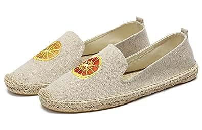 qzunique Women's Qz Canvas Slip-On Shoes Loafers Casual Sneakers Flats 10.5 B(M) US Orange