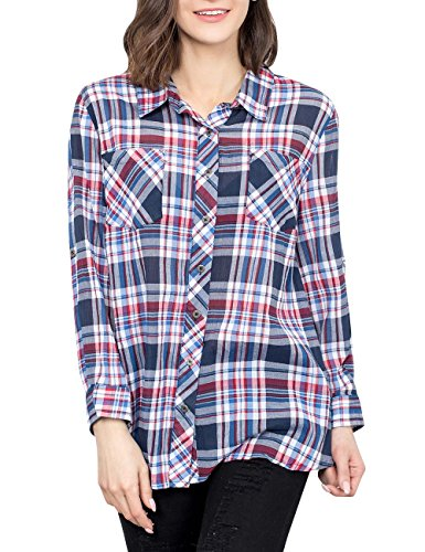 Margin Point Version Women Plus Size Long Sleeve Plaid Buton Down Shirt Casual Cotton Shirts Tops