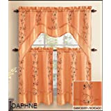 3 Piece Kitchen Window Curtain Treatment Set: 2 Layer, Embroidered Sheer Design, 2 Tiers and 1 Valance (ORANGE)