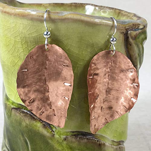 JANECKA Copper Leaf Earrings 2.25 Inch Length, Artisan Hand Forged, 7th Anniversary Gift