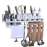 Kitchen Rack Organizer Storage Shelves, Saebye Multifunctional Full-Aluminum Wall Mount Kitchen Shelves with Bottle Racks, Various Hanger Hooks & Pot Organizers for Kitchen