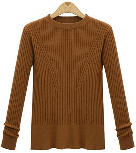 YOGLY Femme Hiver Pull Col Rond en Maille en Douceur et Manches longues Classique Casual Pullover Sweater Jumper Tops Tricots Kaki