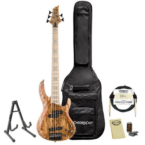 ESP JB-RB-1005SM-NAT-KIT-1 Rocco Prestia Spalted Maple Natural 5-String Electric Bass Guitar Pack by ESP