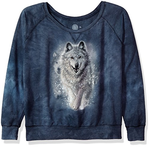 The Mountain Wolves Plow Adult Woman's Slouchy Crew Shirt, Grey and Blue, Large