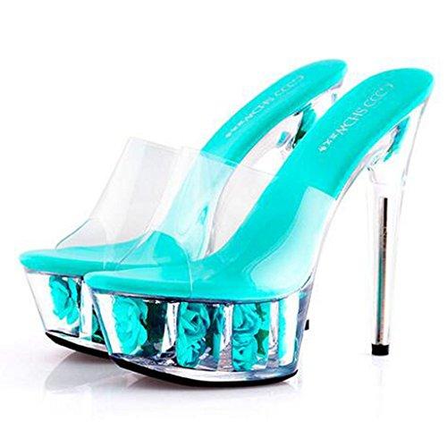 Llp Altos Con Fina Grueso G Zapatillas Sandalias Mujer Fondo Tacones De Zapatos Cristal Impermeable Para Flores Plataforma HrTHB
