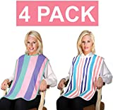 4 Pack - Clothing Protector Long Length Terry Cloth Senior Adult Bibs w/Velcro Closure. Meal Time Senior Bib