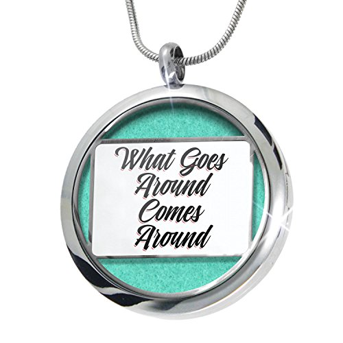 What Goes Around Vintage - NEONBLOND Vintage Lettering What Goes Around Comes Around Aromatherapy Essential Oil Diffuser Necklace Locket Pendant Jewelry Set