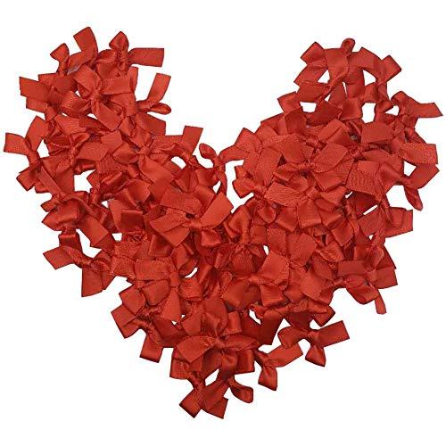 "Tianying 100pcs Mini Satin Ribbon Bows Flower 1.5"" x 1.4"" Farbic Solid Hair Clip Supply Appliques DIY (Red)"