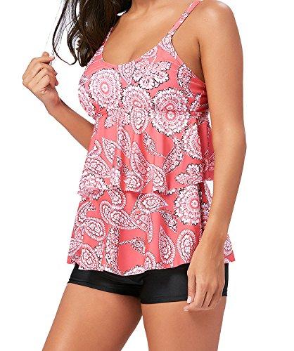 Tomlyws Women Tankini Swimwear 2 Piece Paisley Ruched Flounce Tiered Top with Boyshort Bottoms Set Pink XL