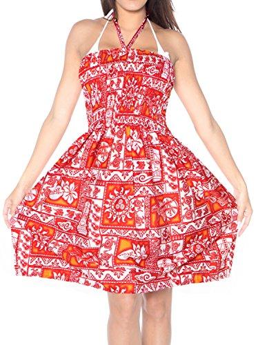 Rojo Mujer la Vestido para Playa Midi Ropa de Tirantes Tubo de de Falda Encubrir Superior Aloha Vestido Halter Traje de Maxi j377 baño vq615xvw