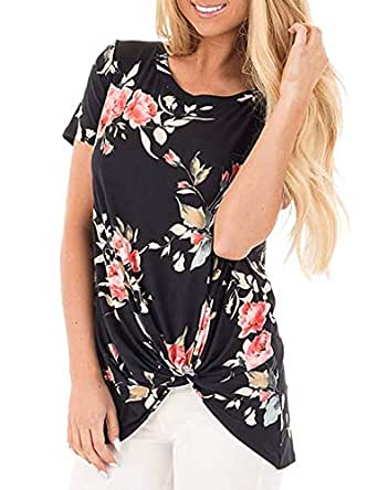 Women's Casual Twist-Front Top Short Sleeve Crewneck Side Knot Loose Floral Print T-Shirt Black S