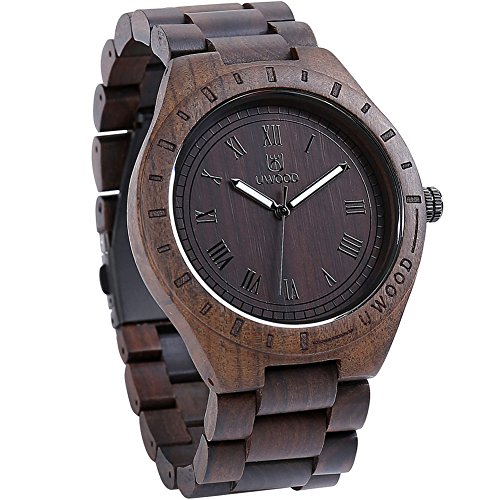 GOGOMY Wooden Watches Mens Wrist Watches Retro Art Analog Quartz Dress Watches Dark Brown