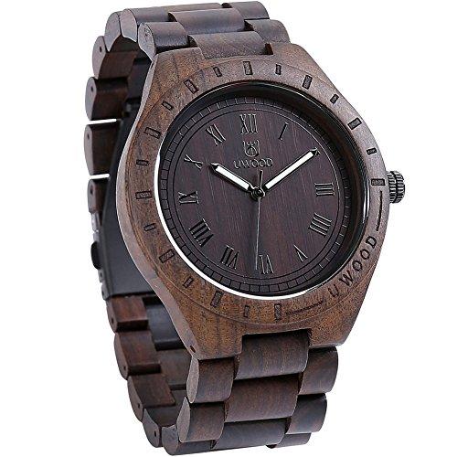 GOGOMY Wooden Watches Mens Wrist Watches Retro Art Analog Quartz Dress Watches Dark Brown