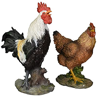 Design Toscano Henrietta the Hen and Cock-A-Doodle-Do Rooster Statue Set, Multicolored : Outdoor Statues : Garden & Outdoor