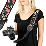 Camera Strap Shoulder Sling with Adjustable Floral Neoprene, Accessory Pocket, Quick Release Buckle by USA Gear - Works with Canon, Fujifilm, Nikon, Sony and More DSLR, Mirrorless Cameras