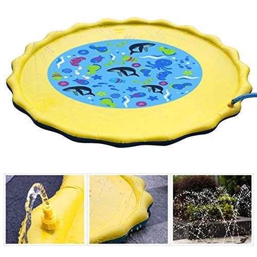 Fealay 59'' Kids Sprinkle and Splash Play Mat Inflatable Summer Water Pad Outdoor Sprinkler padToy Swimming Party for Kids Children Infants Toddlers Boys Girls by Fealay (Image #1)