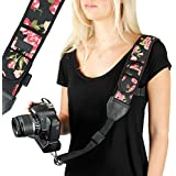 USA GEAR Camera Strap Shoulder Sling with Adjustable Floral Neoprene, Accessory Pocket, Quick Release Buckle - Compatible with Canon, Fujifilm, Nikon, Sony and More DSLR, Mirrorless Cameras