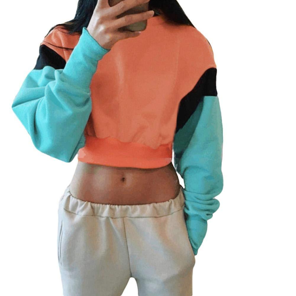 Spbamboo Women Long Sleeve Crop Tops Ladies Patchwork Pullover Hoodie Sweatshirt by Spbamboo (Image #1)