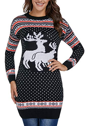 Sidefeel Women Reindeer Christmas Sweater Jumper Medium Black -