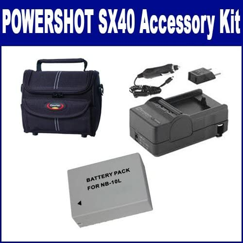 Syenrgy Digital Camera Accessory Kit Works with Canon PowerShot SX40 Digital Camera includes SDNB10L Battery SDM-1547 Charger ST80 Case