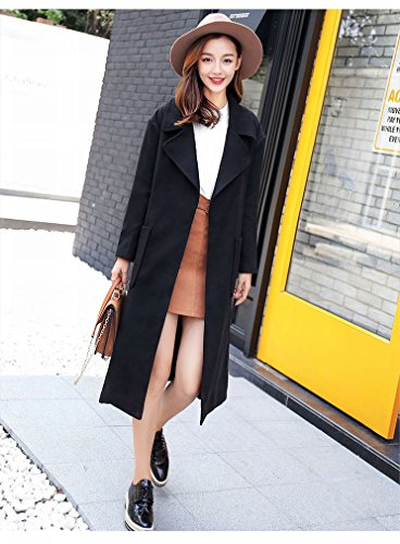 LD Autumn and Winter Fashion Lengthened Paragraph Thickening Warm Woolen Coat Long Coat Black