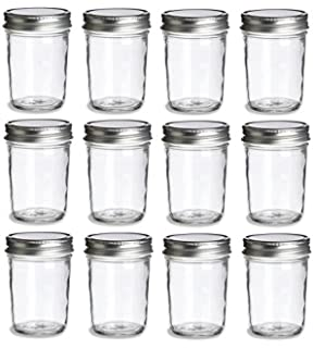 Nakpunar 24 pcs 8 oz Glass Canning Jars with Gold Lid Half Pint Paragon Style MADE IN USA GJR STCL 0800 02-12GL