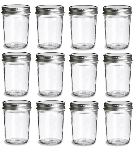 Nakpunar 12 pcs, 8 oz Mason Jars with Silver Lids