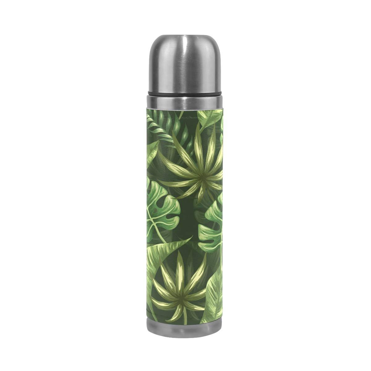 Mnsruu - Botella de Agua con Aislamiento de Hojas de Palmera Tropical, Acero Inoxidable, Doble Pared, a Prueba de Fugas, Funda de Piel auténtica para Viaje, 453 ML