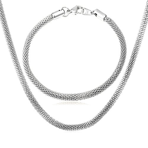 (U7 5MM Chain Stainless Steel Mesh Chain Link Bracelet Necklace Set, 8.3