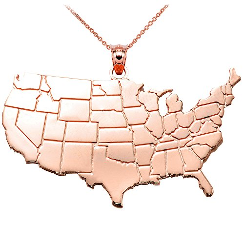 Collier Femme Pendentif United Etats Map 10 Ct Or Rose (Livré avec une 45cm Chaîne)