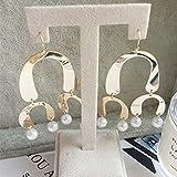 usongs Thai Princess fashionable high street in Europe and America wind exaggerated geometric earrings metal pearl necklace pendant earrings shaped earrings